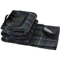 Manta de picnic con asa para transportar personalizada negro intenso