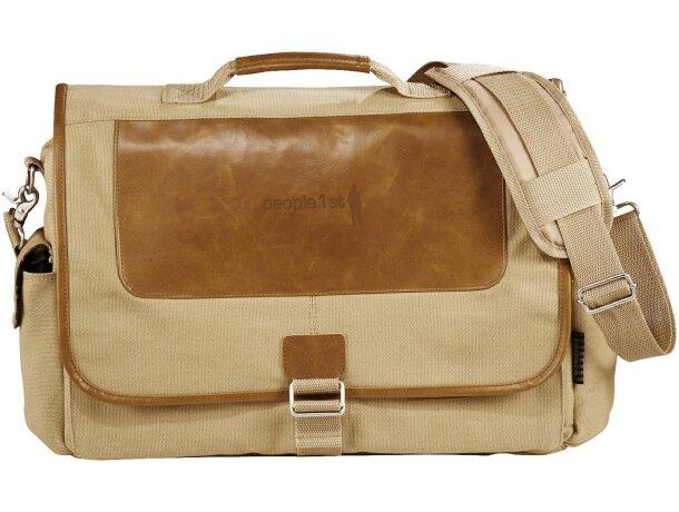 Bolsa para portátil de algodón y piel personalizada