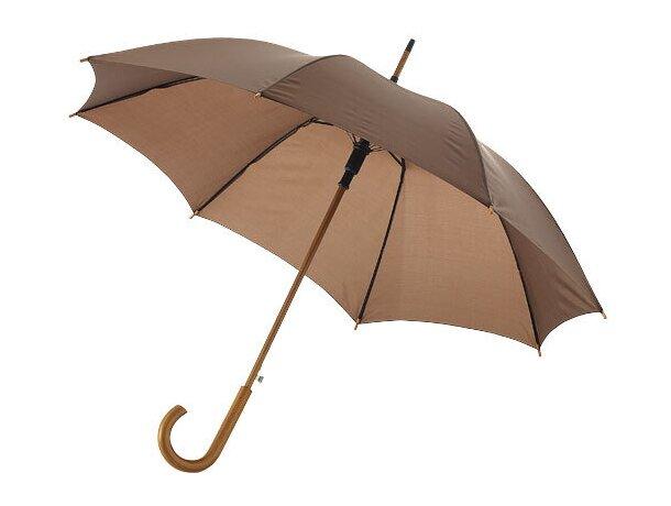 """Paraguas con mango curvo de 23"""" personalizado marrón"""