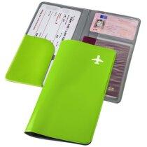 Cartera para el pasaporte en PVC personalizada verde claro