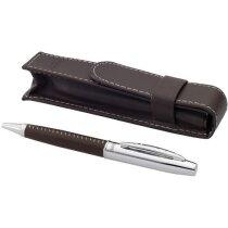 Bolígrafo en metal y piel sintética personalizado marrón