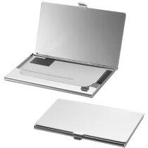 Tarjetero metálico grande personalizado plata