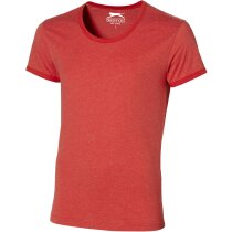 Camiseta de hombre con cuello amplio rojo claro