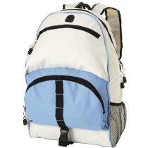 Mochila bicolor con es bolsillos frontales personalizada azul aqua para empresas