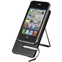 Soporte para smartphone con mini puntero negro intenso con logo