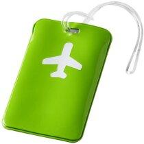 Etiqueta para equipaje con dibujo de avión personalizada verde claro