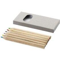 Estuche con 6 lápices marrón