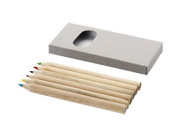 Estuche con 6 lápices personalizado marrón