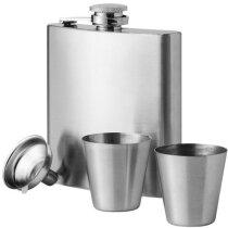 Petaca con vasos de acero personalizada plata