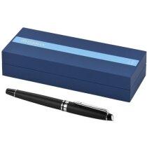 Bolígrafo elegante roller en caja personalizado negro intenso