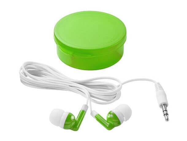 Auriculares estuche redondo personalizado verde transparente