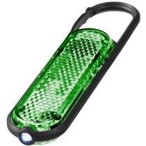 Llavero mosquetón reflectante con luz personalizada verde