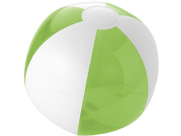 Pelota de playa combinado blanco y color transparente personalizada verde claro