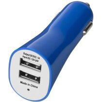 Adaptador doble para coche con usb azul medio barato