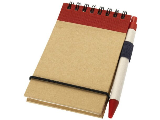 Bloc de notas con bolígrafo y goma personalizada blanco roto