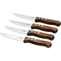 Set de cuchillos para carne 4 piezas en madera personalizado madera