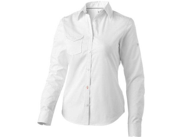 Camisa de mujer con bolsillo barata blanca