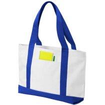 Bolsa con asas y base de colores personalizada blanca