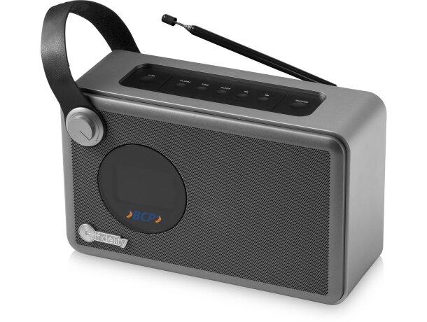 Radio despertador con altavoz bluetooth plata personalizado