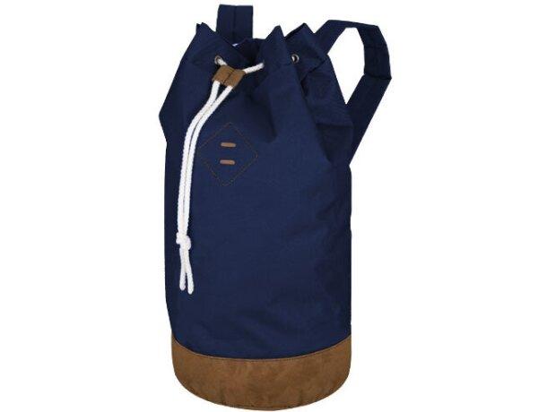 Mochila petate con cierre vertical con cremallera personalizada azul marino