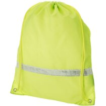 Mochila saco con banda reflectante personalizada amarillo neón