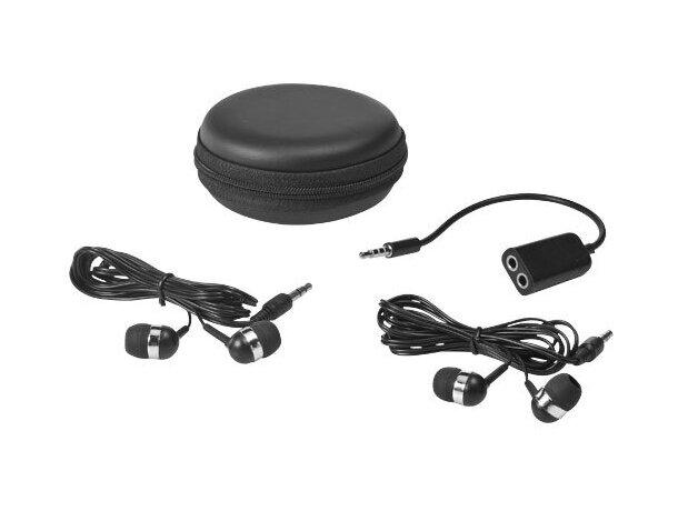 Cascos auriculares internos con estuche personalizado negro intenso