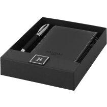 Estuche completo con bolígrafo y libreta de bolsillo personalizada negro intenso
