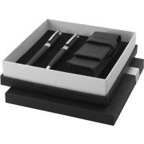 Estuche de bolígrafo con roller grabado de la marca Balmain personalizado negro intenso
