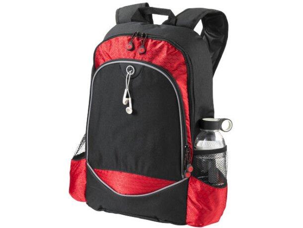 Mochila para portátil con bolsillos laterales personalizada negro intenso