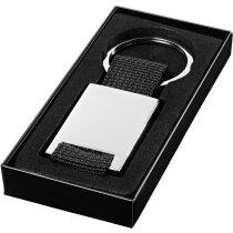 Llavero de metal con malla de poliester personalizado plata