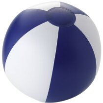 Pelota de playa opaca con rayas personalizada azul