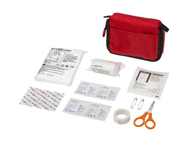 Botiquín primeros auxilios con 19 piezas personalizado rojo
