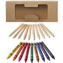 Caja pack de lápices y ceras personalizada blanco roto