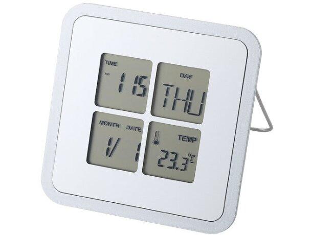 Reloj de sobremesa con termómetro y alarma personalizado plata