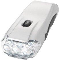Linterna con mecanismo dinamo 3 leds personalizada plata