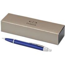 Estuche con bolígrafo de metal en varios colores grabado azul