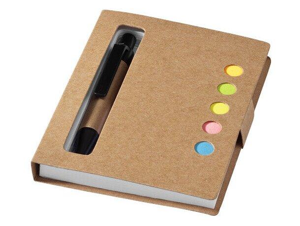 Bloc de notas adhesivas con bolígrafo y marcadores personalizada blanco roto