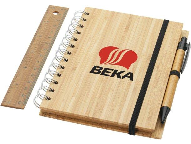 Set de libreta bolígrafo y regla de madera personalizado