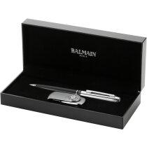 Set para regalar de bolígrafo en acero y memoria usb personalizada plata