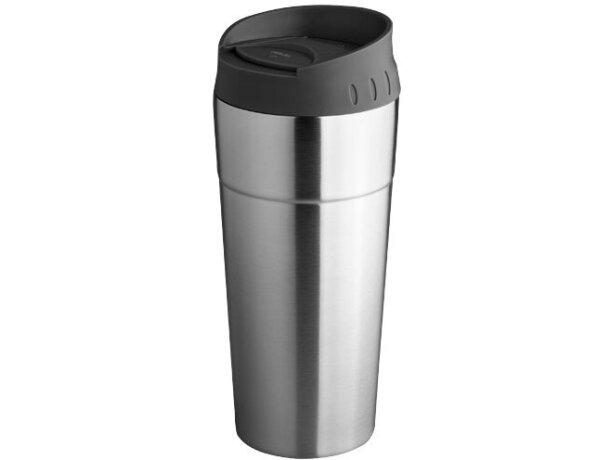 Vaso de acero con tapa personalizado plata