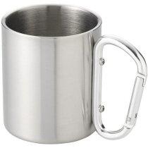Taza de acero con asa térmica plata