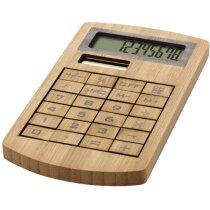 Calculadora elegante fabricada en bambú personalizada marrón