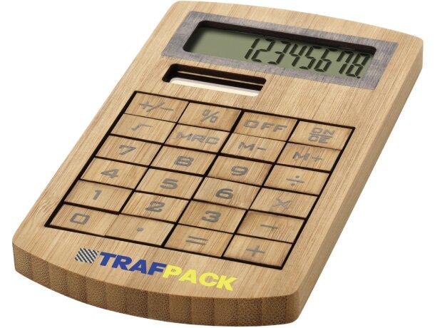 Calculadora elegante fabricada en bambú grabada