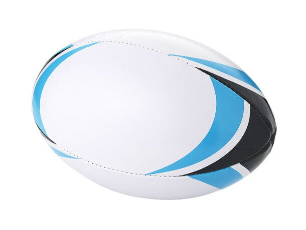 Balón de rugby con detalles en azul intenso personalizado blanco