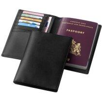 Cartera para el pasaporte de piel personalizada negro intenso