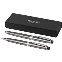 conjunto de regalo con roller y bolígrafo de diseño de la marca Balmain personalizado gris oscuro