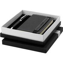 Caja de bolígrafo y libreta de piel personalizada negro intenso
