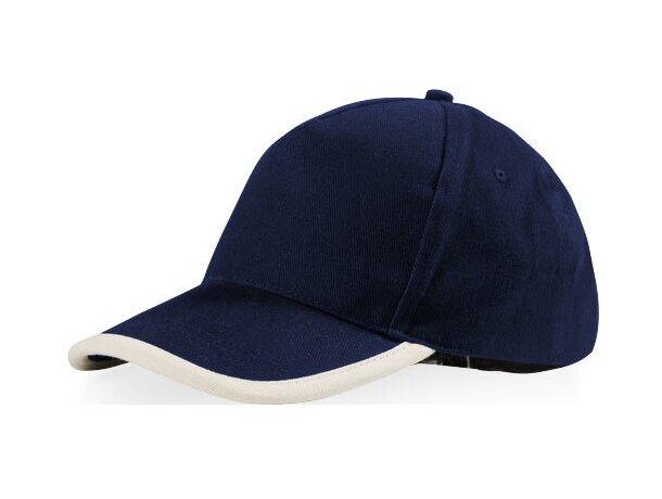 Gorra con 5 paneles en algodón y detalles de color personalizada azul marino