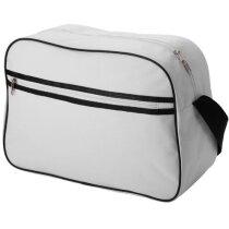 Bolsa bandolera de poliéster con dibujo de rayas personalizada blanca