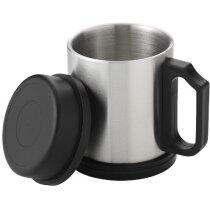 Taza Isotérmica en acero con tapa personalizada plata